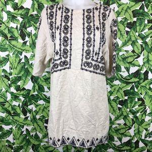 Zara Trafaluc Cream Linen Navy Embroidered Dress